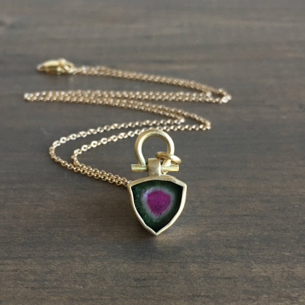 Monika Krol Watermelon Tourmaline Slice Pendant