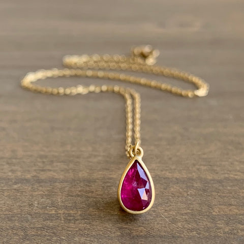 Lola Brooks Tiny Ruby Droplet Pendant