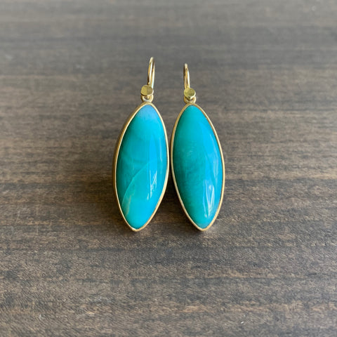 Lola Brooks Opalized Wood Navette Drop Earrings