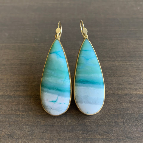 Lola Brooks Opalized Wood Oceanic Drop Earrings
