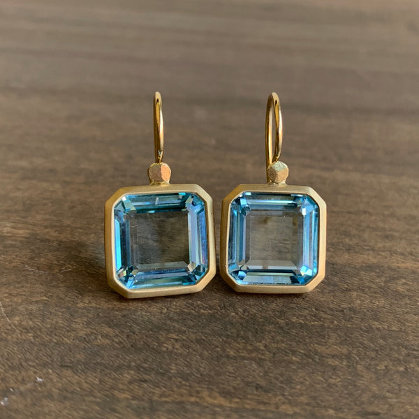 Lola Brooks Blue Topaz Octagon Earrings