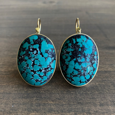 Lola Brooks Tibetan Turquoise Oval Earrings