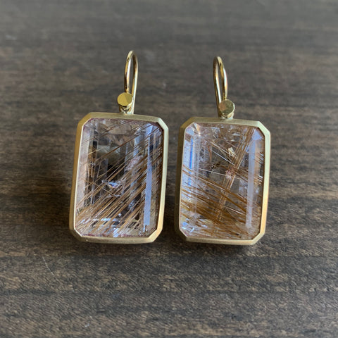 Lola Brooks Emerald Cut Rutilated Quartz Earrings