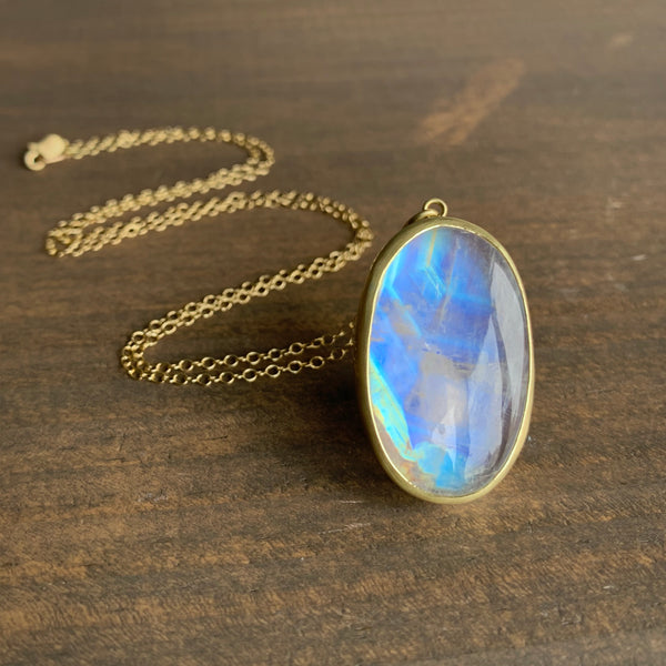 Monica Marcella Oval Geometric Flash Moonstone Necklace