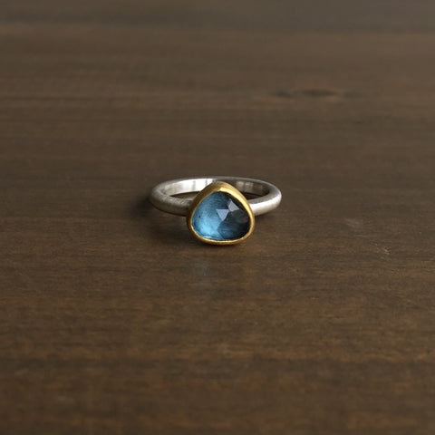 Heather Guidero Rose Cut Blue Topaz Ring
