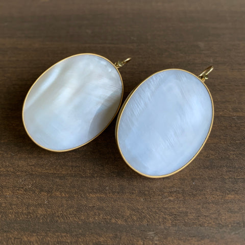 Lola Brooks Mother of Pearl Oval Earrings