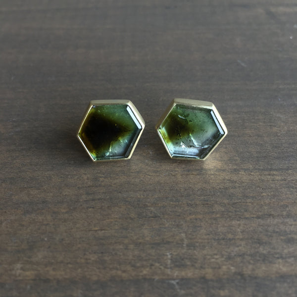 Heather Guidero Bezel Set Hexagon Tourmaline Studs
