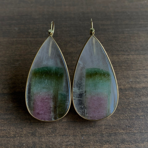 Lola Brooks Quartz with Tourmaline Crystal Earrings