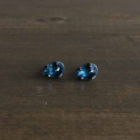Heather Guidero Carved Blue Topaz Teardrop Prong Set Studs
