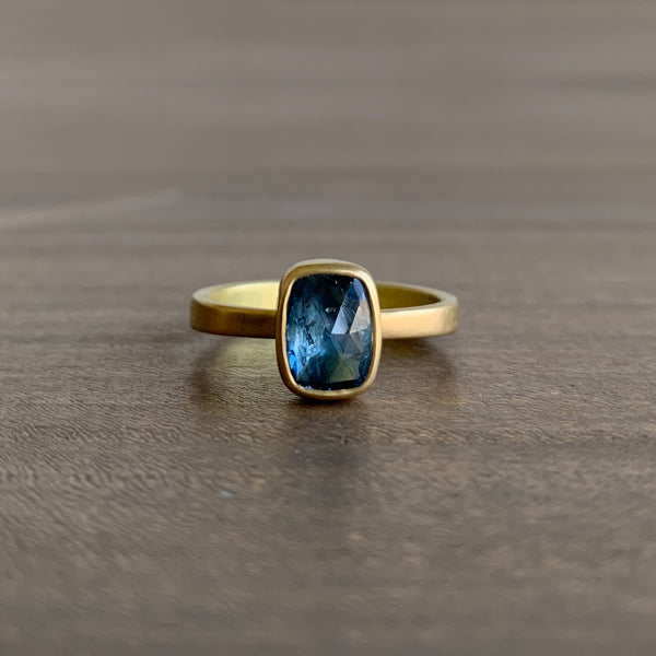Lola Brooks Natural Blue Cushion Sapphire Ring