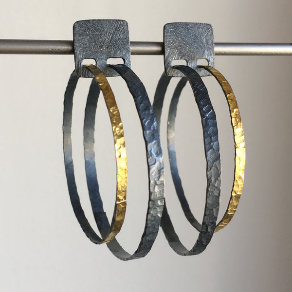 Heather Guidero Carved Square Top Double Hoop Post Earrings