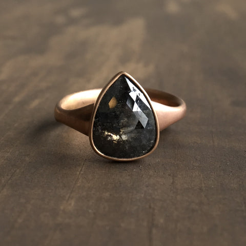 Lola Brooks Large Carbon Teardrop Diamond Ring