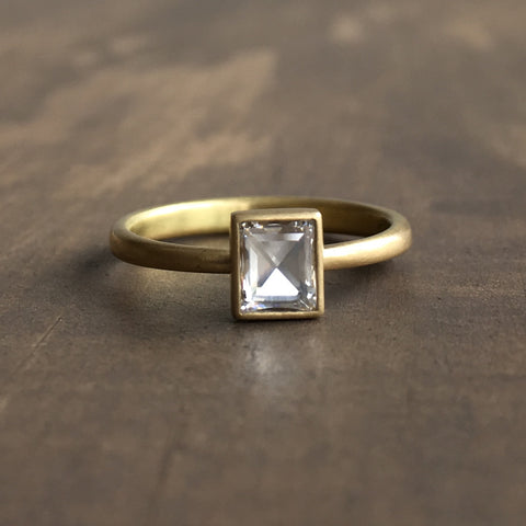Lola Brooks Rectangular Clear White Rosecut Diamond Ring