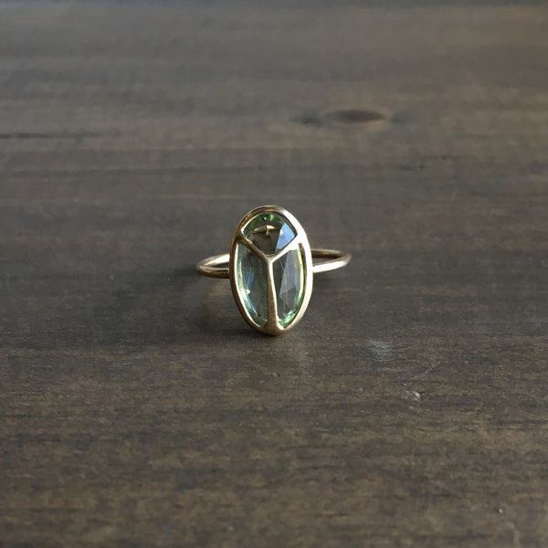 Rachel Atherley Oval Green Aquamarine Lucky Scarab Ring