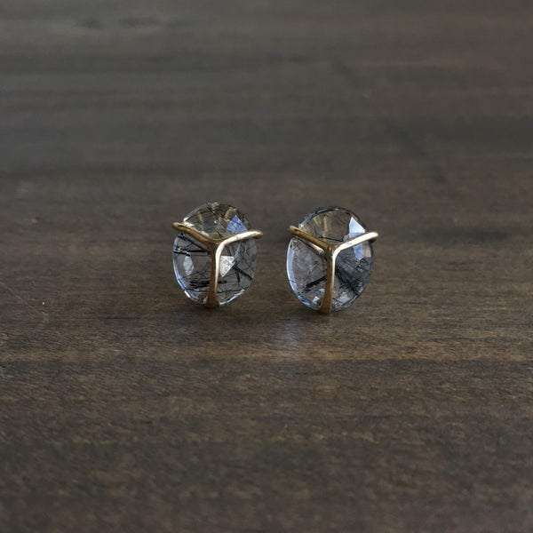 Rachel Atherley Black Rutilated Quartz Lucky Scarab Studs