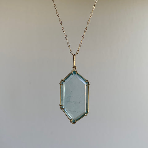 Russell Jones Elongated Aquamarine Hex Pendant