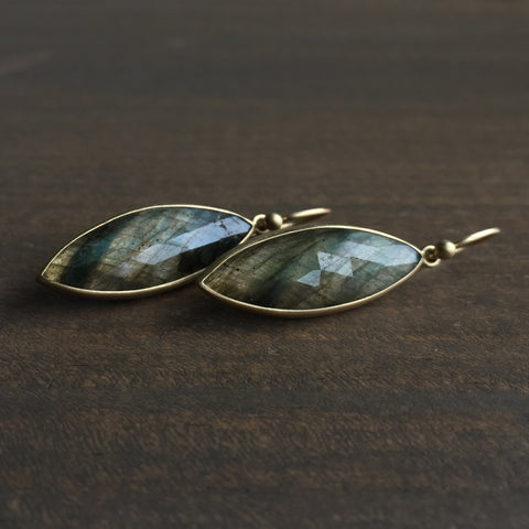 Monika Krol Rose Cut Labradorite Navette Earrings