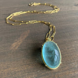 Rosanne Pugliese Cage Set Aquamarine Cabochon Necklace