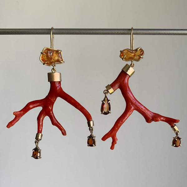 Russell Jones Coral Branch Earrings