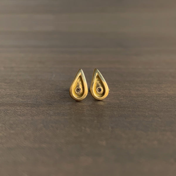 Monica Marcella Flame Studs with Diamonds
