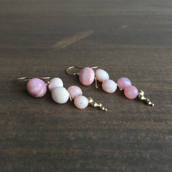 Rachel Atherley Small Pink Opal Caviar Earrings