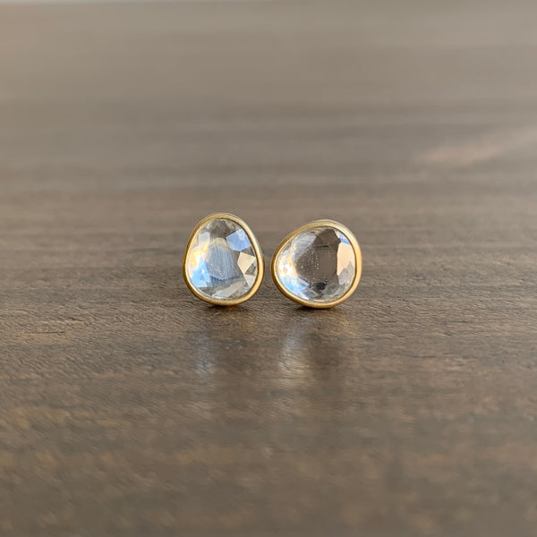 Lola Brooks White Sapphire Pebble Sequin Stud Earrings