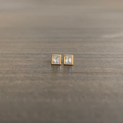 Lola Brooks Tiny Square Icy Diamond Stud Earrings