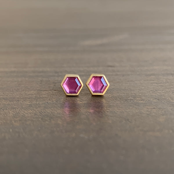Lola Brooks Hexy Pink Sapphire Stud Earrings
