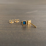 Lola Brooks Square Deep Blue Sapphire Stud Earrings