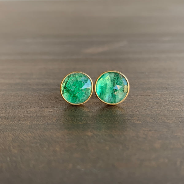 Lola Brooks Large Round Emerald Stud Earrings