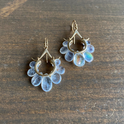 Rachel Atherley Small Rainbow Moonstone Peacock Earrings