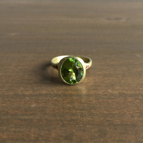 Judi Powers Faceted Peridot Amphora Ring with Rubies
