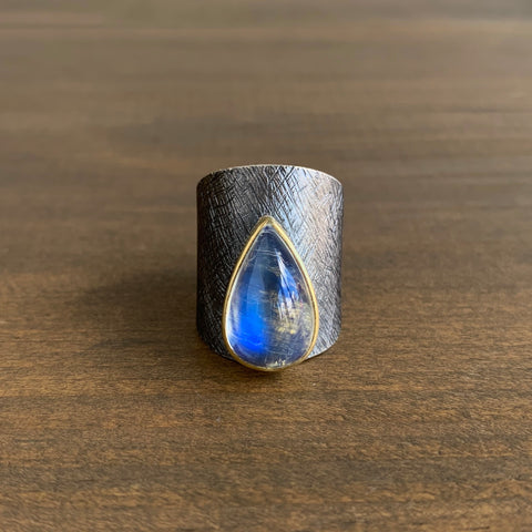 Heather Guidero Carved Shield Shape Ring with Rainbow Moonstone Teardrop