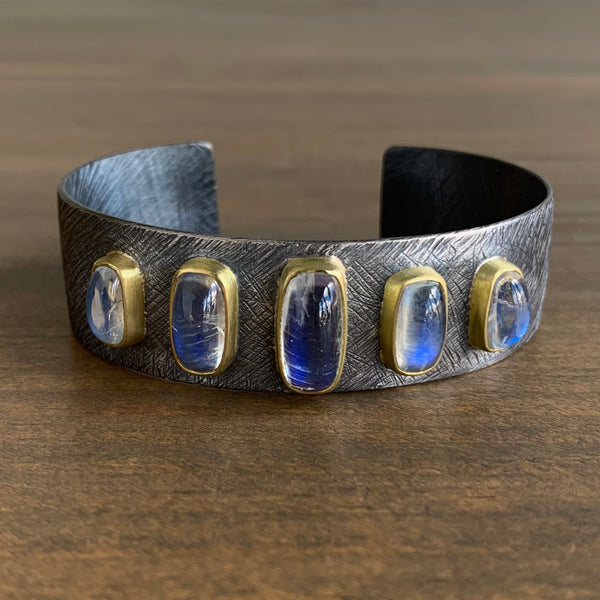 Heather Guidero Carved Cuff with Rainbow Moonstones