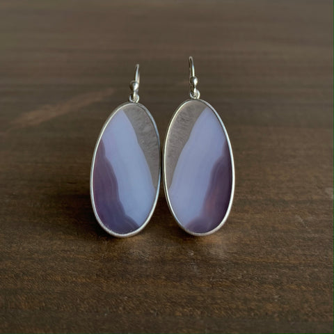 Monika Krol Lavender Agate Slice Earrings