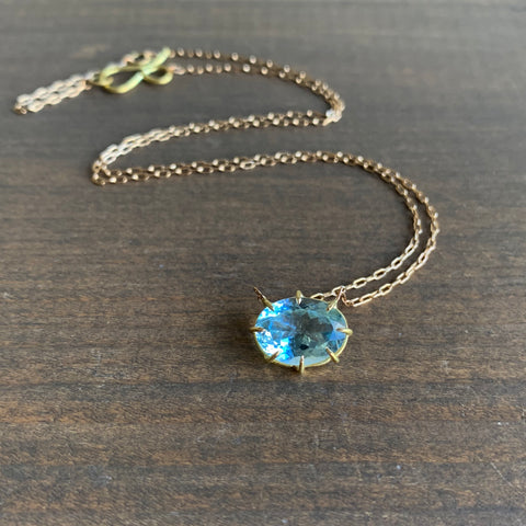Rosanne Pugliese Small Oval Faceted Aquamarine Pendant