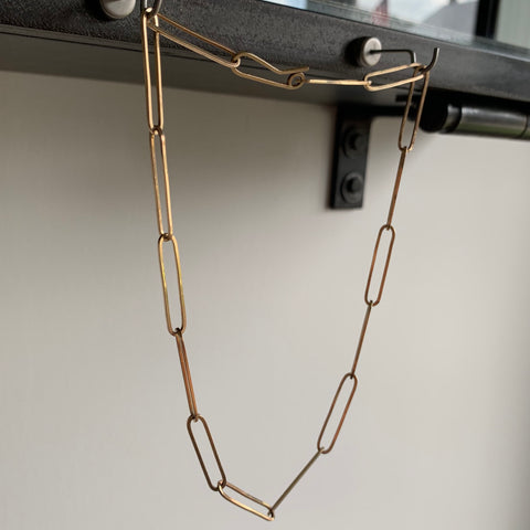 Russell Jones Gold Paperclip Necklace