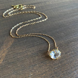 Rosanne Pugliese Small Oval Faceted White Topaz Pendant
