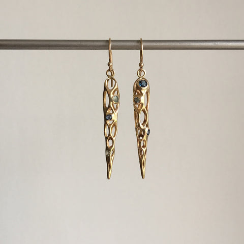 Rachel Atherley Medium Gold Cholla Earrings with Sapphires