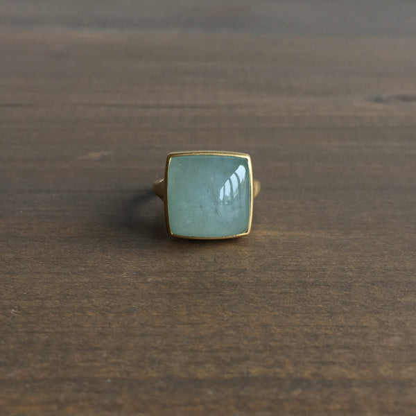 Monika Krol Square Aquamarine Cast Ring