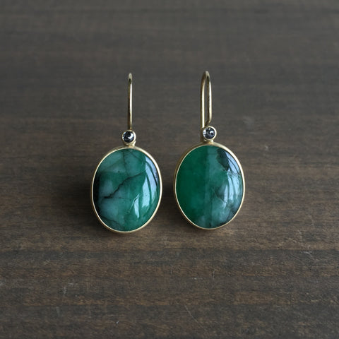 Monika Krol Oval Emerald Earrings with Black Diamonds