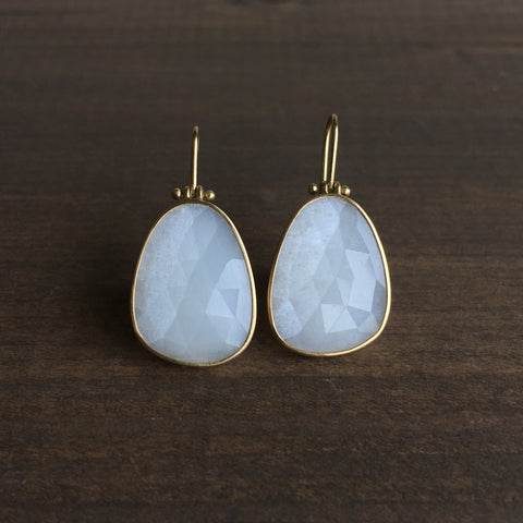 Monika Krol White Moonstone Drop Earrings