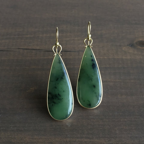 Monika Krol Jade Teardrop Slice Earrings