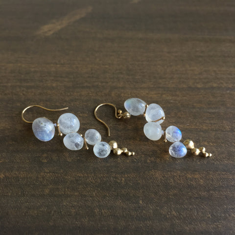 Rachel Atherley Small Rainbow Moonstone Caviar Earrings