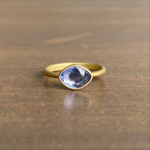 Lola Brooks Pale Blue Periwinkle Sapphire Sequin Ring