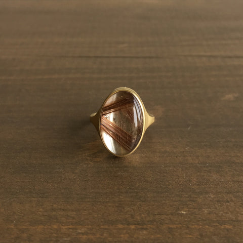 Monika Krol Oval Coppery Rutilated Quartz Cast Ring