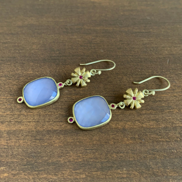 Judi Powers Chalcedony and Ruby Narcissus Earrings