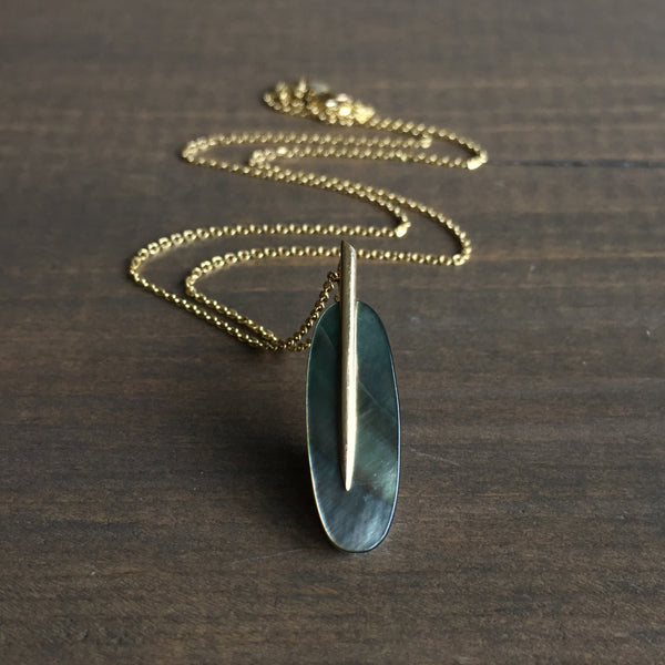 Rachel Atherley Small Black Mother of Pearl Feather Pendant