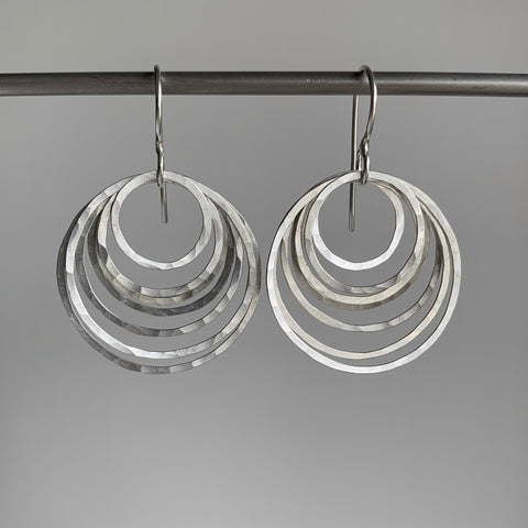 Heather Guidero Silver Circle Ripple Earrings