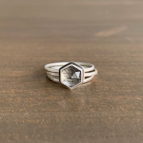 Ananda Khalsa Hexagon Tourmalinated Quartz Ring Set
